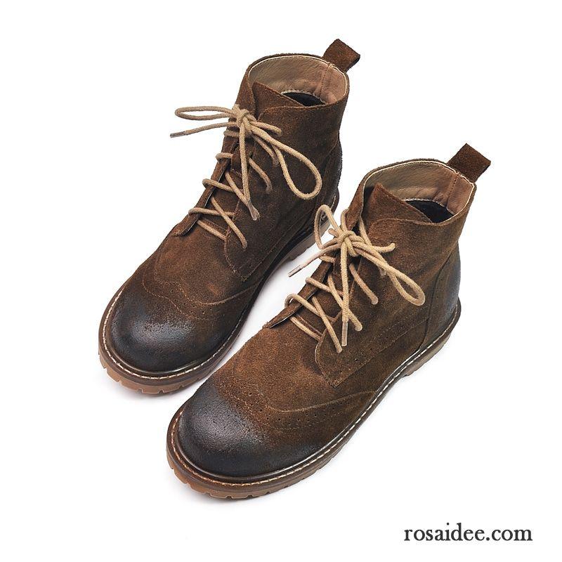 3572e994a4f1d6 ... Außergewöhnliche Schuhe Schnürung Martin Stiehlt Damen Flache Echtleder  Kurze England Retro Winter Gefrostet Günstig