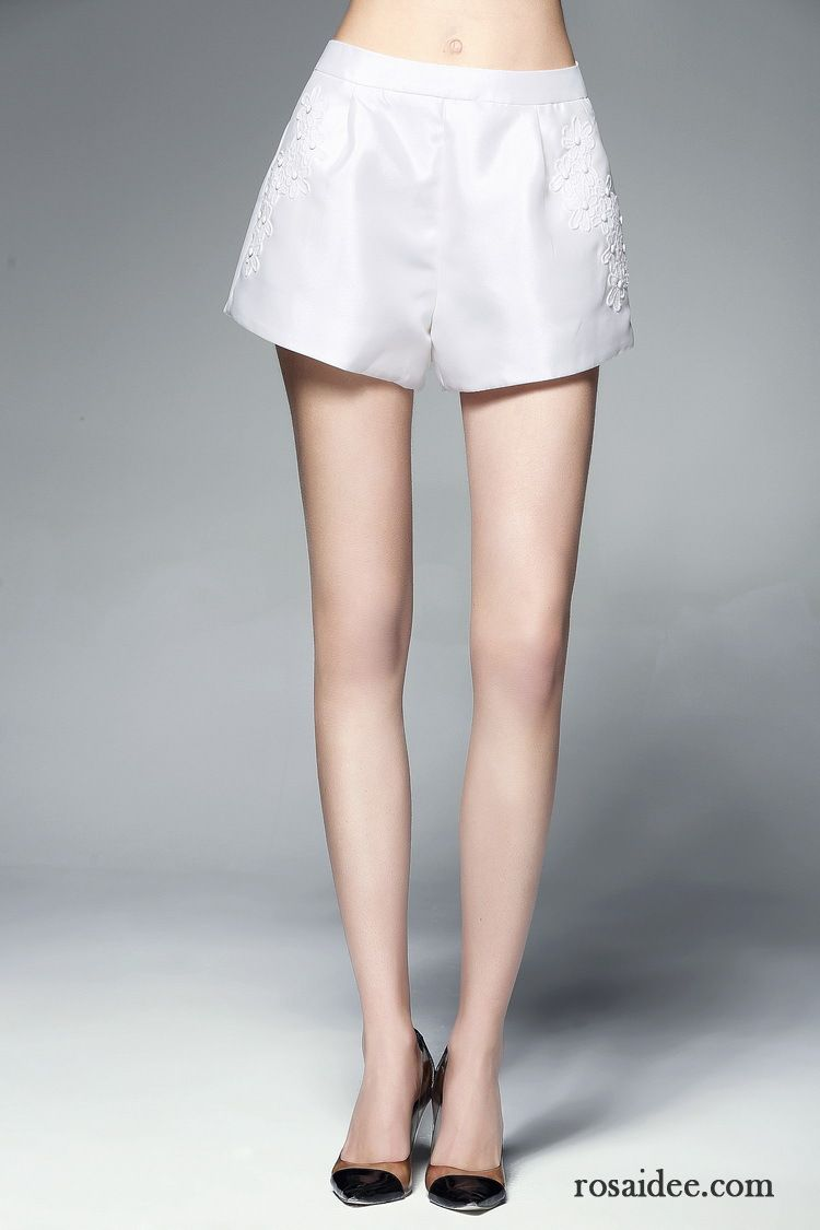 Gestreift Weiß Bein Ausverkauf Reißverschluss Weites Hose
