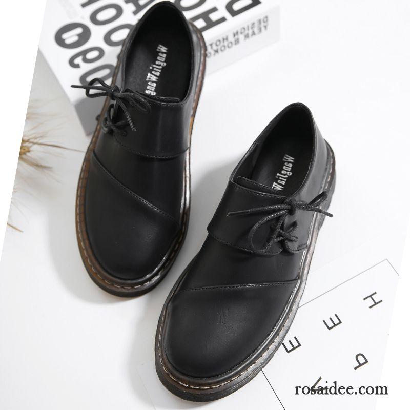 8555b7d90a6e00 Leder Schuhe Schwarz Damen Neue Schuhe Feder Schnürschuhe Schüler England  Weiß Allgleiches Lederschuhe Casual Günstig