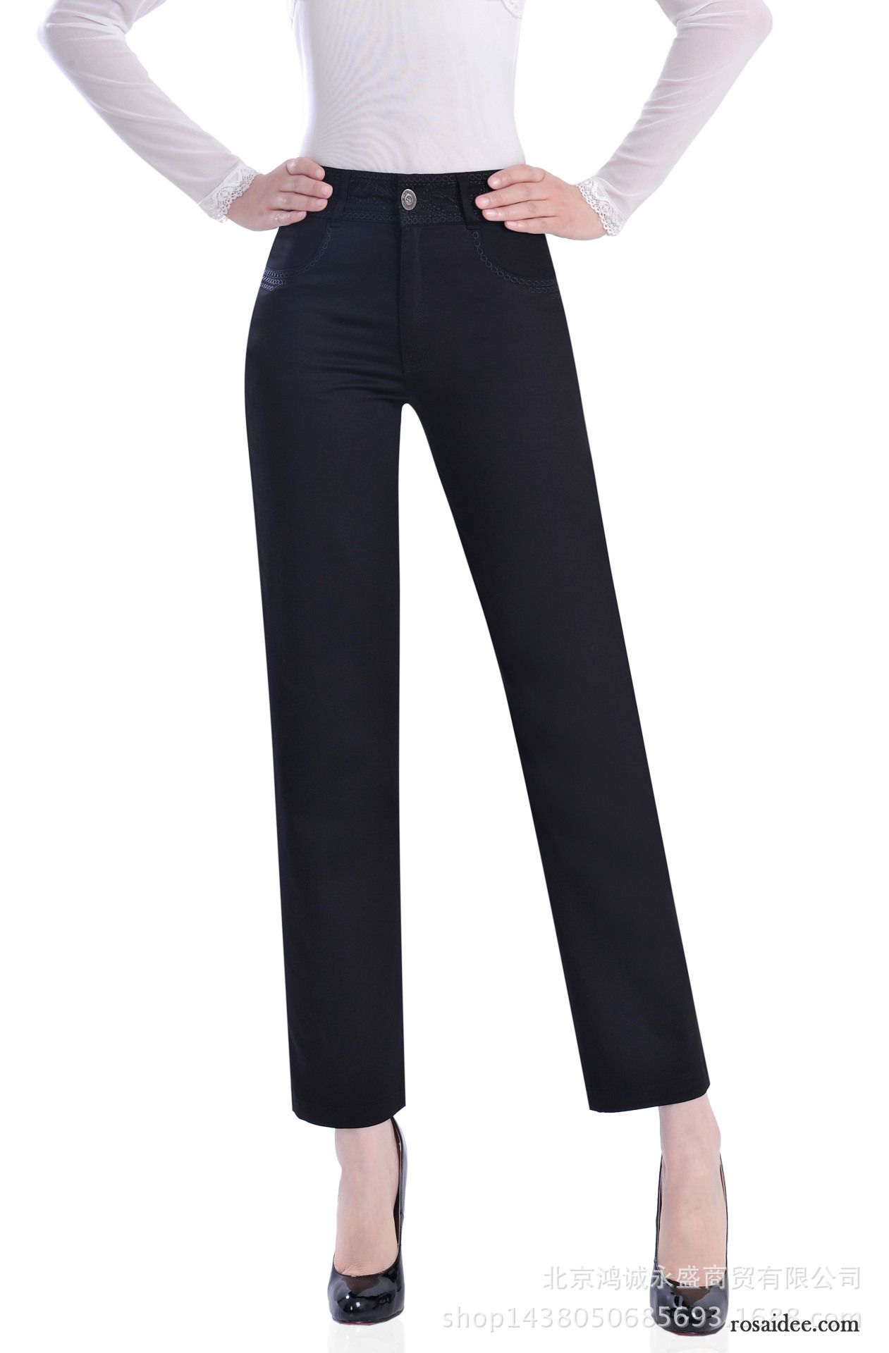 36dd1fd3602799 Leichte Mode Sommerhose Damen Rein Damen Elastisch Freizeit Feder Sommer  Baumwolle Neunte Hose Hohe Taille Gerade Kaufen
