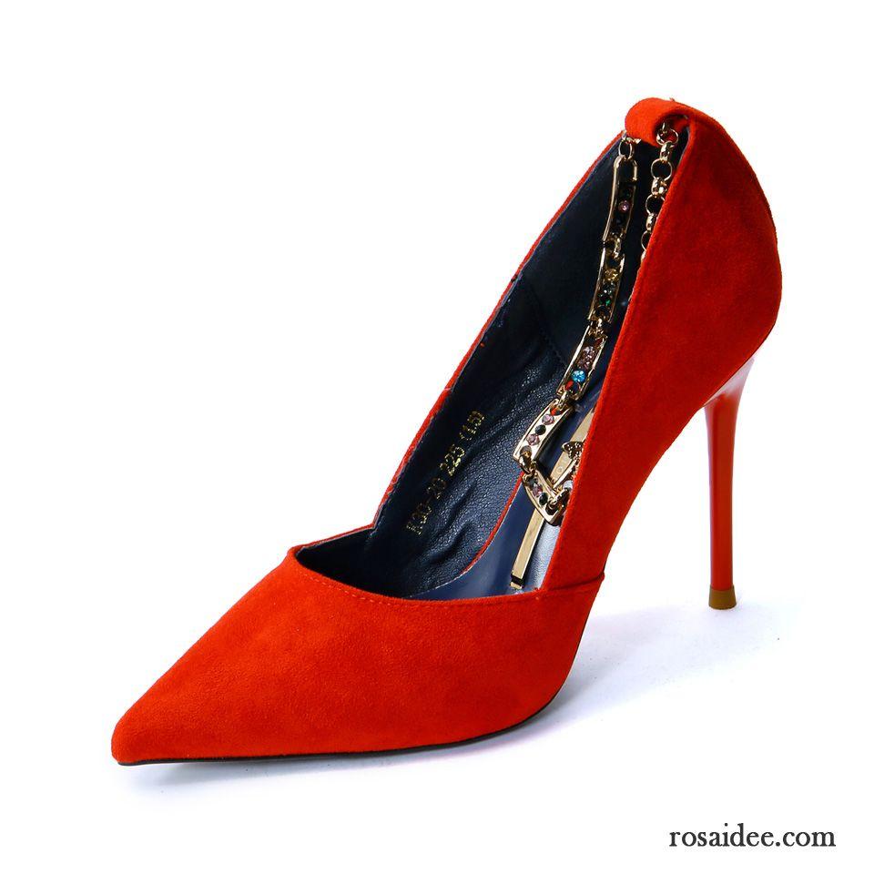 Rote Glitzer Pumps Spitze Elegant Sommer Metall Rot Hochzeit Schuhe