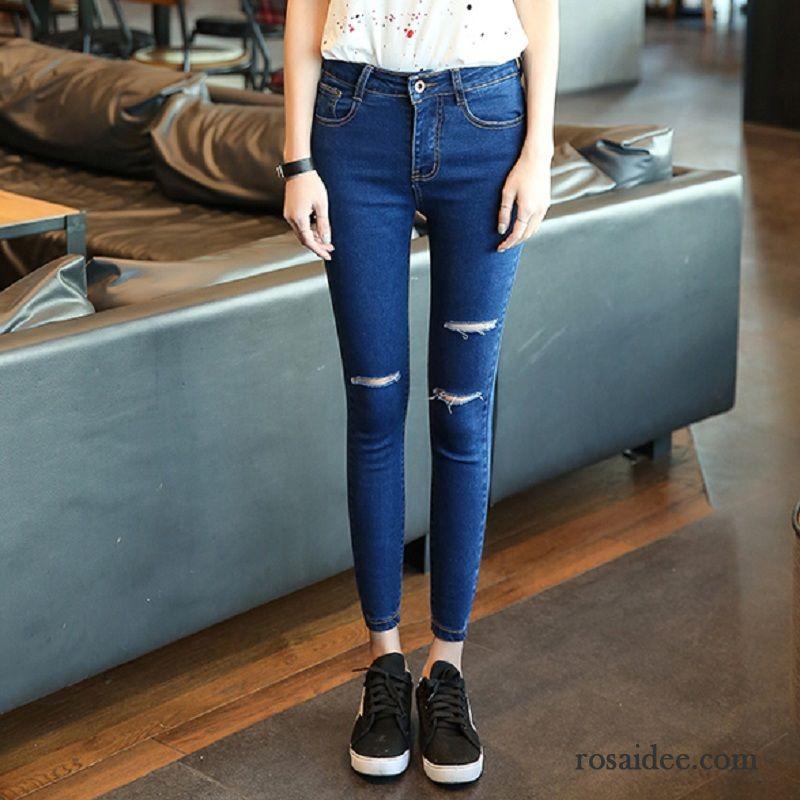 wei jeans mit l chern hohe taille fest damen jeans l cher. Black Bedroom Furniture Sets. Home Design Ideas