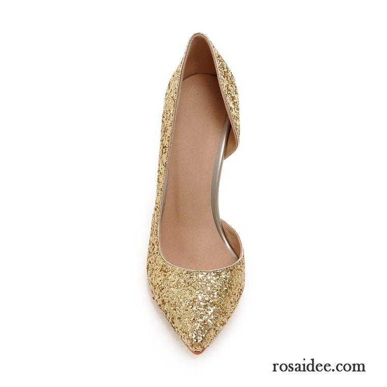 Damen Hochfrontpumps Pailletten Spitze Gold Hochzeit Schuhe Damen