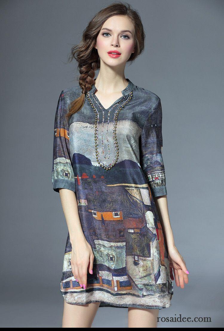 Online Shop Kleidung Elegant Seide Temperament Drucken ...