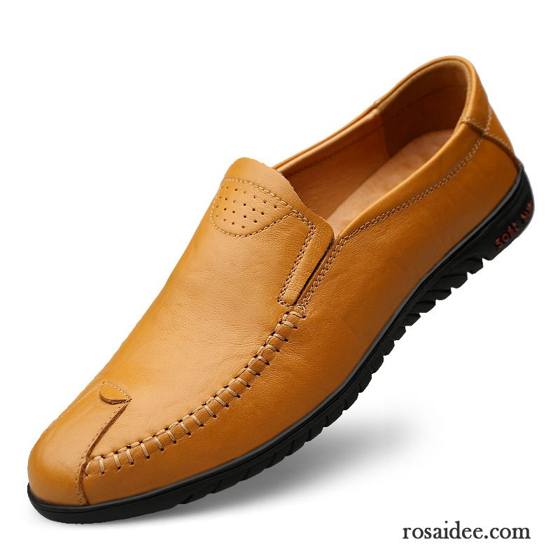 ba697e8331182b Bequeme Sneaker Herren Lederschue Casual Echtleder Atmungsaktiv Gelb Schuhe  Geschäft Herbst Herren Slip-on Weiche Sohle Günstig