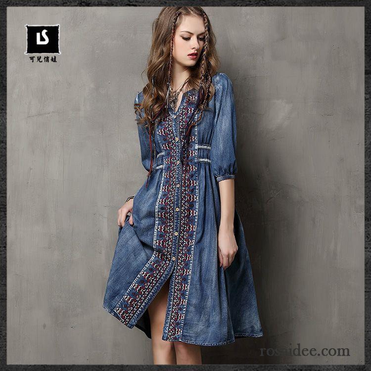 cheap for discount e9751 03352 Damenkleider Mode Große Größe Stickerei Kleider Herbst Damen ...