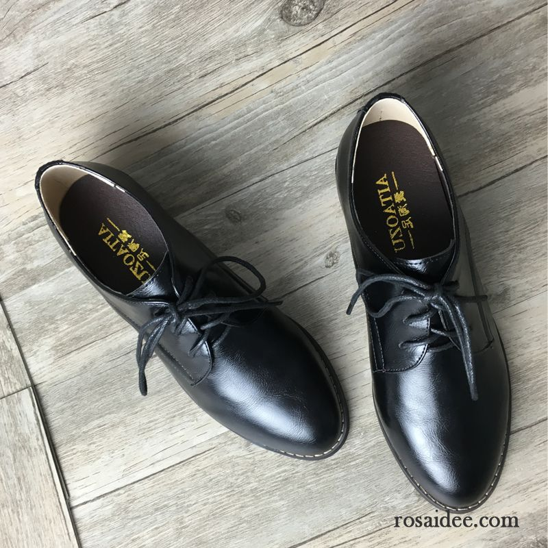 buy popular dc44d a72ee Englische Schuhe Damen Schwarz Große Größe Retro Dick Flache ...