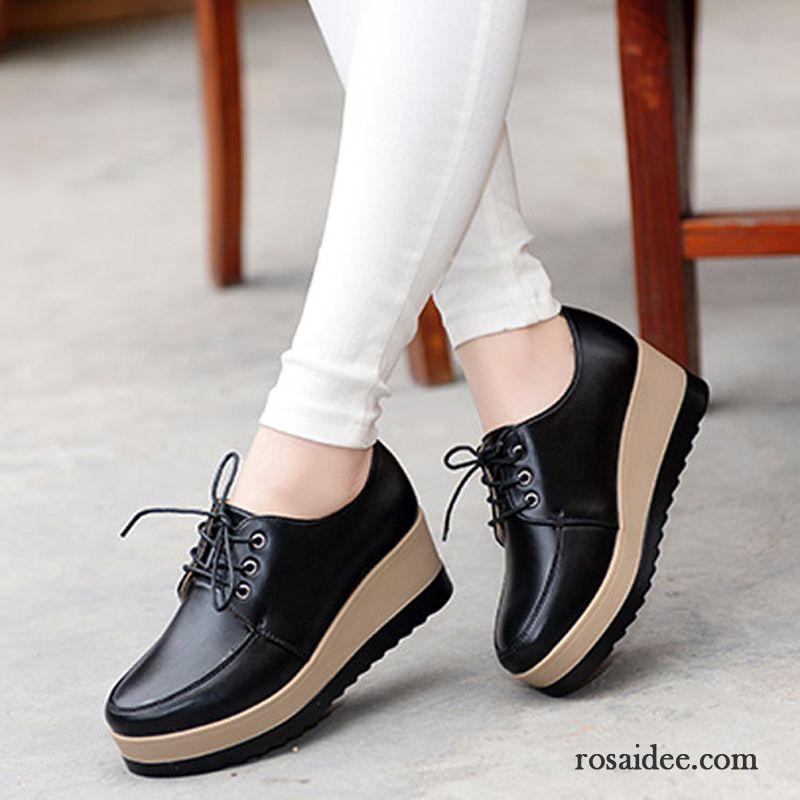 Schuhe Ledersohle Damen Schnürschuhe Flache Feder Casual