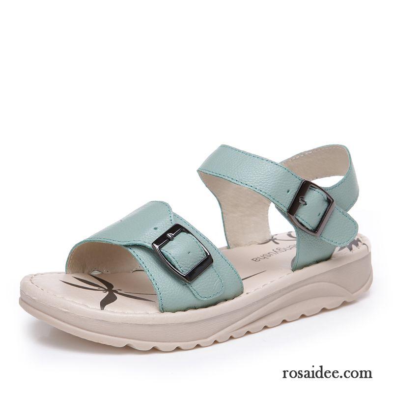 Strand Sommer Geschlossene Echtleder Sandalen Damen Sandale Flache SwztY