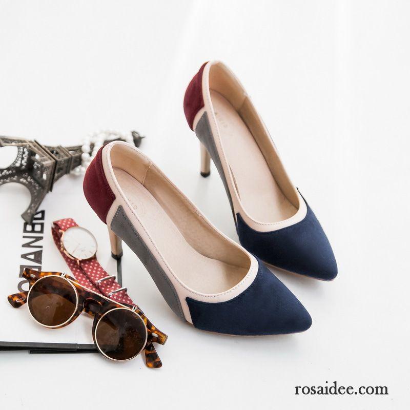 Graue Pumps Wildleder Neue Produkte Dünne Fersen Schuhe Schnürschuhe Spitze  Mode Vorzüglich Herbst Pumps Dame Mischfarben c66953aca8