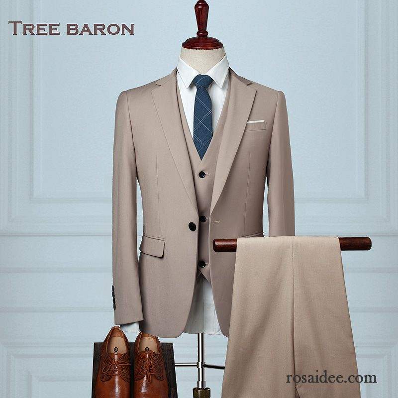 Herren Anzug Dunkelblau Herren Beruflich Hochzeit Kostum Schlank Anzug