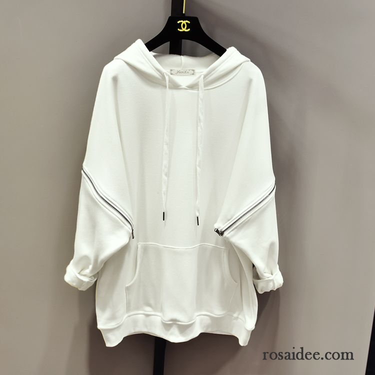 Hoodie Damen Winter Lose Mit Kapuze Plus Samt Verdickung Rein Weiß
