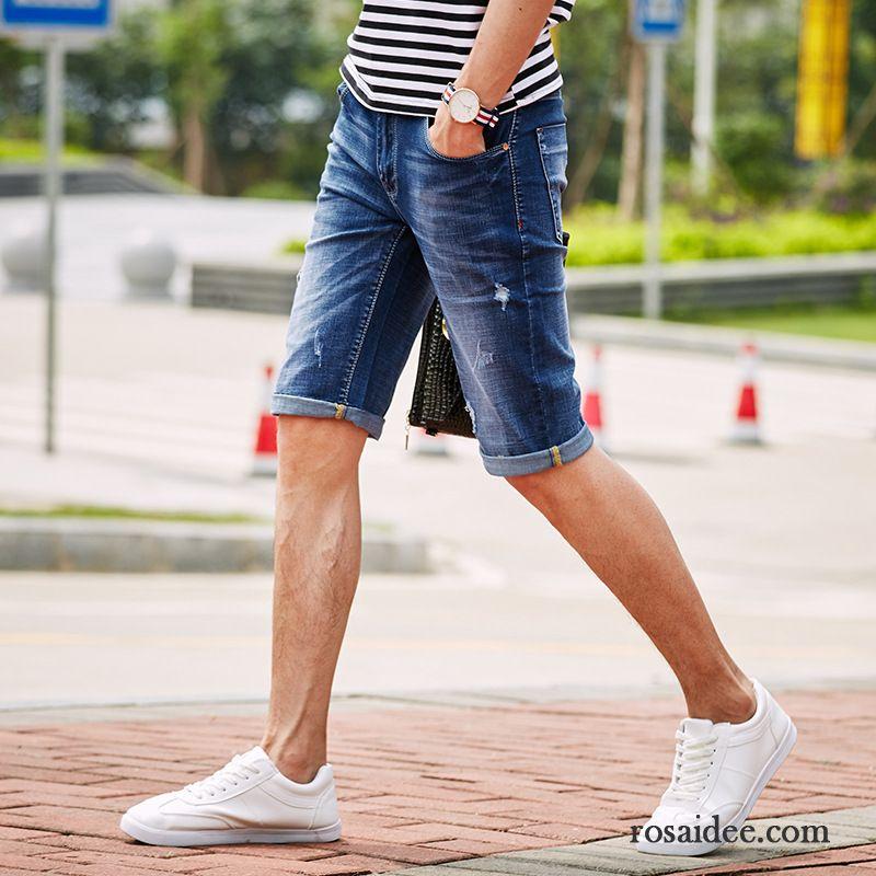 59a22ddaa1a1 Jeanshosen Günstig Herren Kurze Hose Jeans Löcher Herren Mode ...