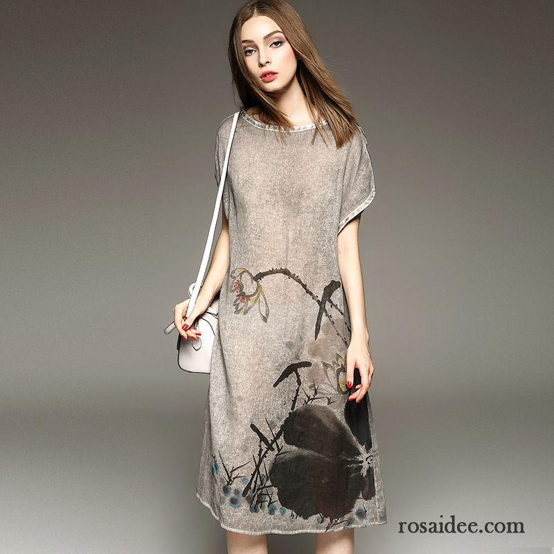 lange winterkleider damen drucken h lse kleider neu blume herbst falten elegant verkaufen. Black Bedroom Furniture Sets. Home Design Ideas