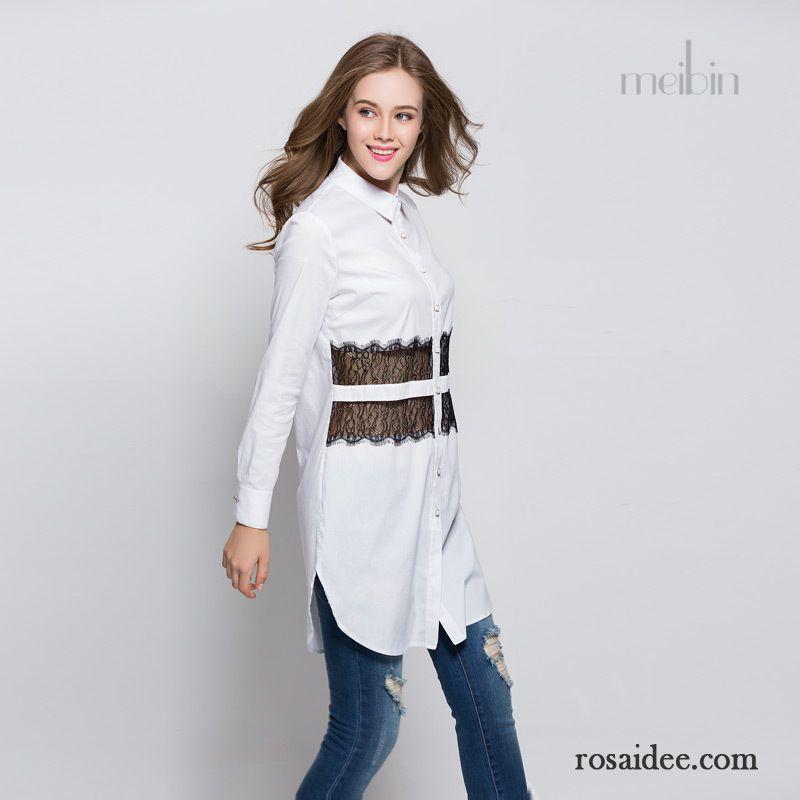 Fabelhaft Bluse Schwarz Weiße Punkte Kleider Herbst Damen Lange Ärmel Neu #LX_42