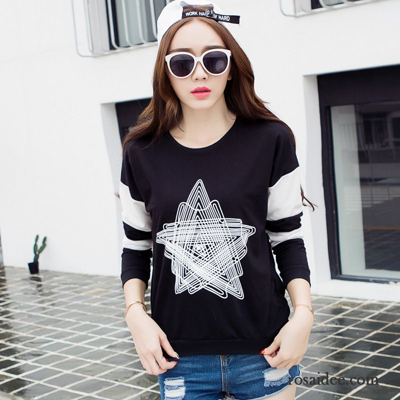 mode t shirt damen baumwolle lose rein lange rmel herbst pentagramm damen drucken muster mode t. Black Bedroom Furniture Sets. Home Design Ideas