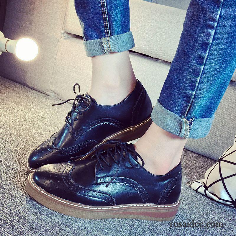 5907ed380c6735 Schicke Schuhe Damen Flache Casual Schnürung England Oxford Schuhe  Schnürschuhe Feder Retro Schwarz Damen Lederschuhe Hochschule Wind Verkaufen