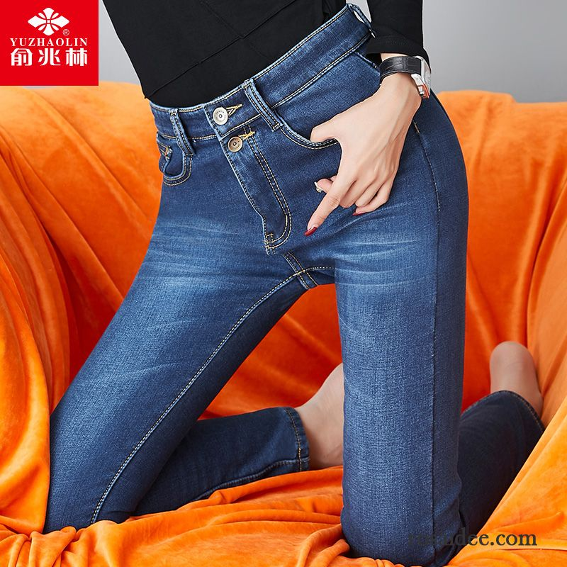 high waist jeans mit l chern d nn elastisch jeans schwarz neunte hose schlank damen wei g nstig. Black Bedroom Furniture Sets. Home Design Ideas