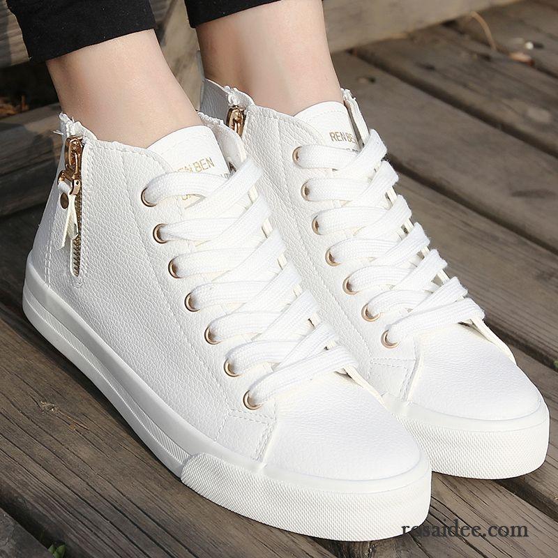 270aa66e4b7470 Schwarze Schuhe Damen Atmungsaktiv Schuhe Flache Tuch Schuhe Schüler Damen  Schnürschuhe Langschaft Trend Casual Skaterschuhe Reißverschluss Verkaufen