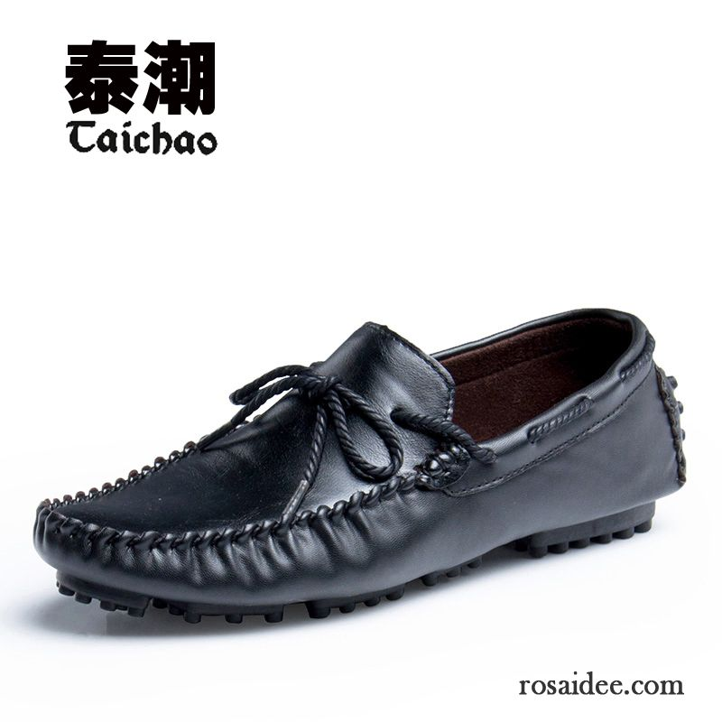 Schwarze Schuhe Herren Jugend Atmungsaktiv Faul Trend Slip
