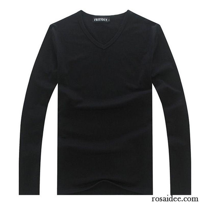 699ea944cb4dee Schwarzes T Shirt V Ausschnitt Baumwolle Winter Herbst Unteres Hemd Lange  Ärmel Herren Kleidung Weiß Rein