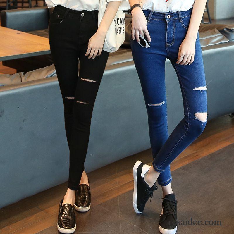 wei jeans mit l chern hohe taille fest damen jeans l cher schwarz neunte hose sch ler d nn. Black Bedroom Furniture Sets. Home Design Ideas