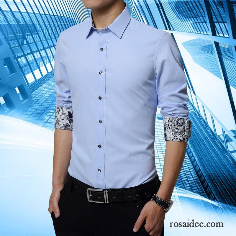 blaues hemd wei er kragen hemd freizeit hemden mischfarben modisch baumwolle herren mode neu. Black Bedroom Furniture Sets. Home Design Ideas